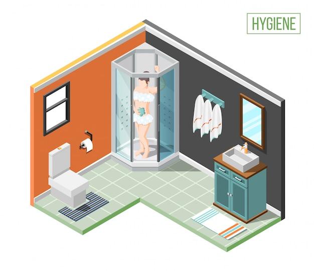 Femme isométrique sous la douche