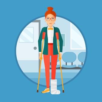 Femme avec une jambe cassée et des béquilles.