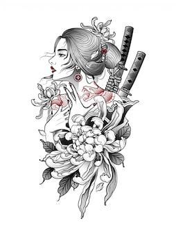 Femme japonaise, à, serpent, tatouage, sur, elle, dos