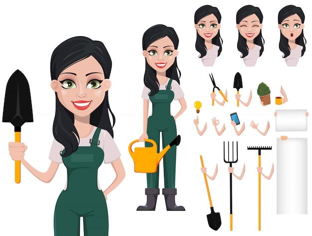Femme jardinier, personnage dessin animé, dans, uniforme
