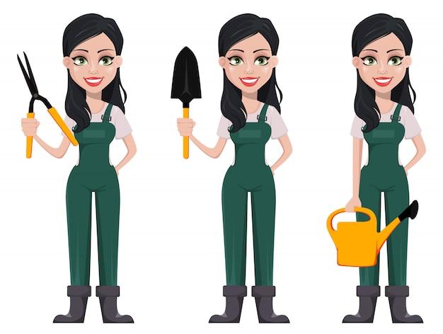 Femme jardinier, personnage de dessin animé
