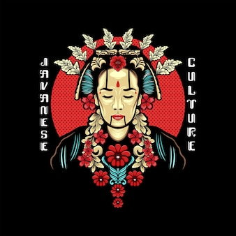 Femme javanaise avec costume de culture