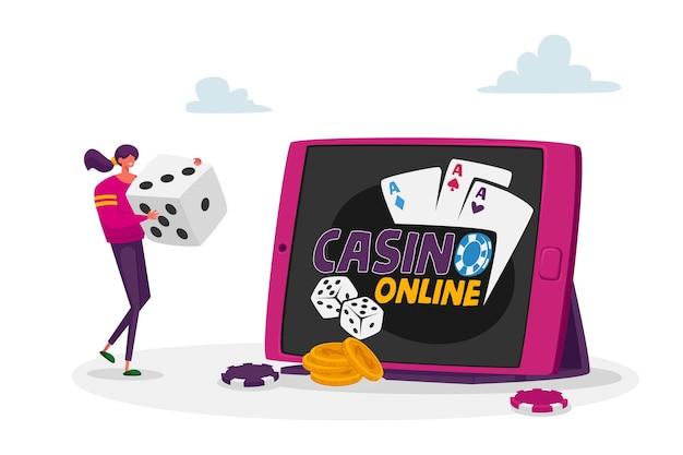 Femme de jeu, gagner de l'argent sur internet, revenus en ligne, jeux de hasard.