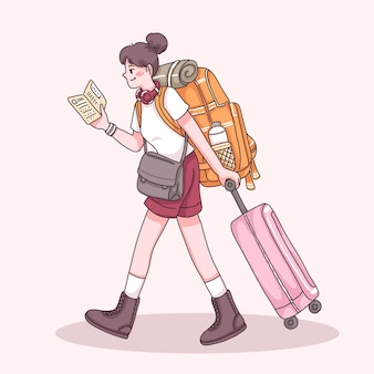 Femme jeune voyageur avec sac à dos et valise traînant pendant la lecture du guide de la carte en personnage de dessin animé, illustration plate