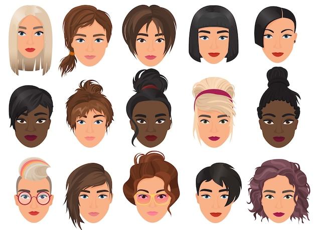 Femme jeunes filles portrait réaliste détaillé avatar visage ensemble