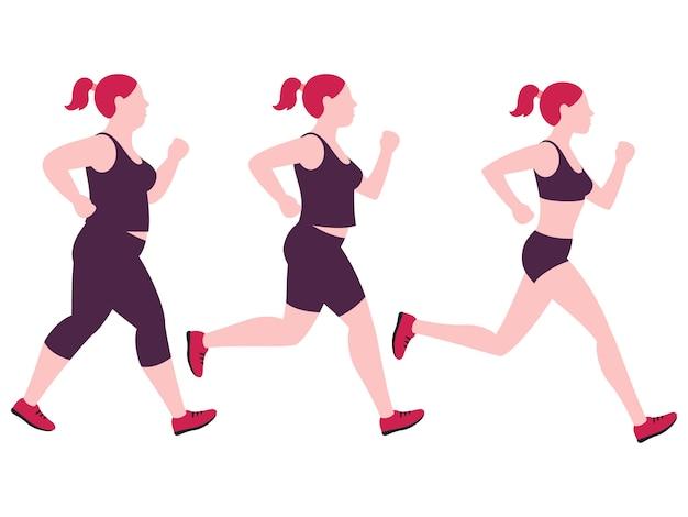 Femme jogging et concept de perte de poids