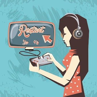 Femme jouant au jeu vidéo rétro vector illustration design