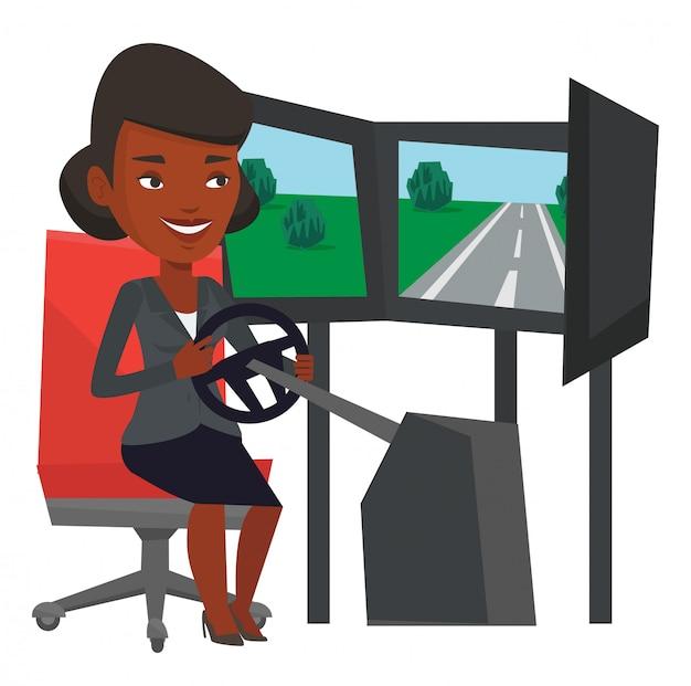Femme jouant au jeu vidéo avec roue de jeu.