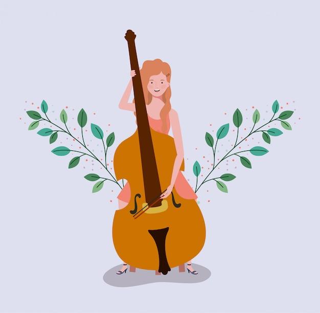 Femme jouant le caractère d'instrument de violoncelle