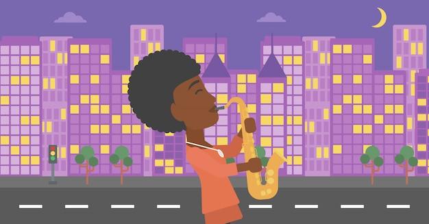 Femme jouant du saxophone.