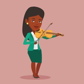 Femme jouant du violon illustration.