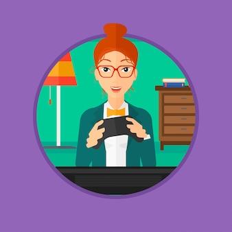 Femme jouant à un jeu vidéo.