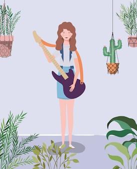 Femme, jouer, guitare électrique, caractère, instrument