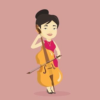 Femme, jouer, violoncelle, illustration.