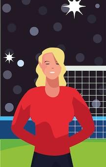 Femme, joueur football, dans, stade