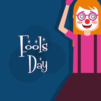Femme joyeuse avec masque silly lunettes carte de voeux jour de fous