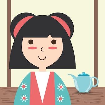 Femme avec kimono et design de décoration de thé en porcelaine