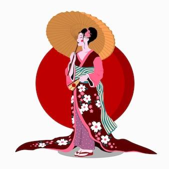 Femme en kimono avec parapluie. illustration de dessin animé plat de vecteur de couleur isolée sur le soleil rouge.