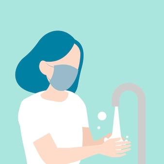 Femme lavant ses mains la conscience de covid-19