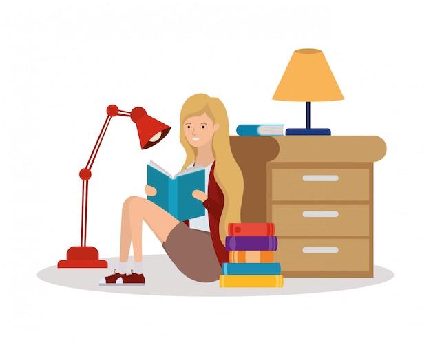 Femme, lecture, caractère livre livre