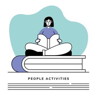 Femme, lecture, livre, caractère, et, lettrage, illustration, conception