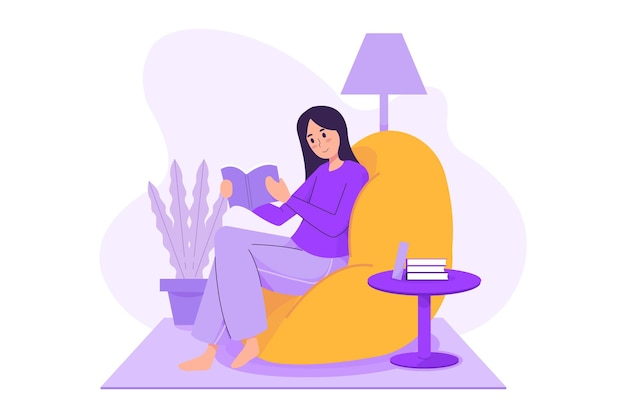 Femme, lecture, livre, illustration