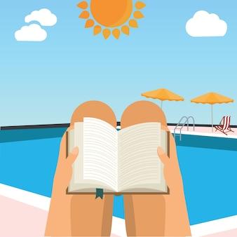 Femme, lecture, livre, plage, piscine, vecteur, illustration