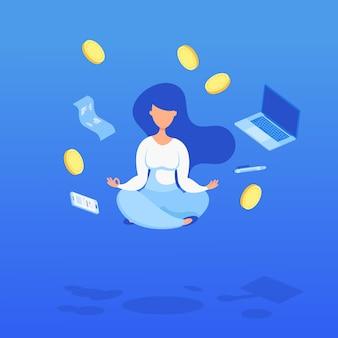 Femme en lévitation avec des pièces de monnaie, des ordinateurs et un chèque. économiser de l'argent, consultation en finances personnelles, gestion des investissements.