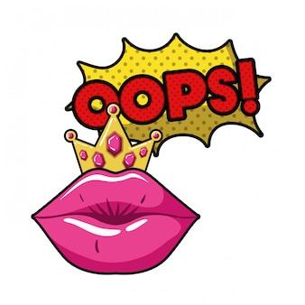 Femme lèvres avec icône isolé bulle de dialogue