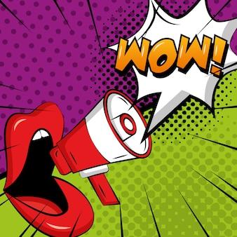 Femme lèvres mégaphone parler wow pop art bande dessinée