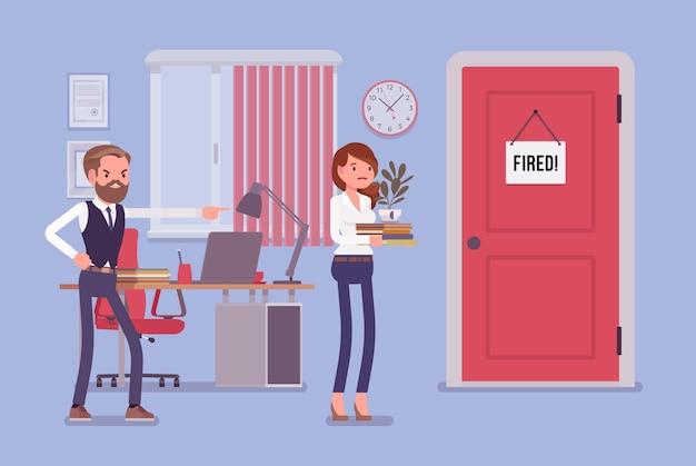 Femme licenciée et patron masculin en colère