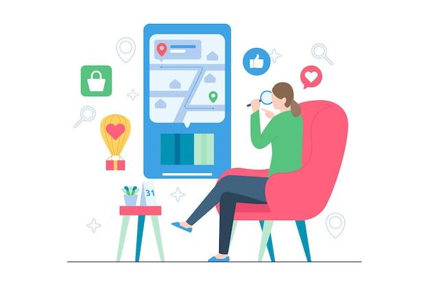 Femme en ligne suivant le colis à partir de l'illustration du commerce électronique
