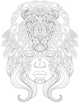 Femme avec lion au-dessus de la tête vers l'avant avec des plumes sur les cheveux dessin au trait incolore dame longue