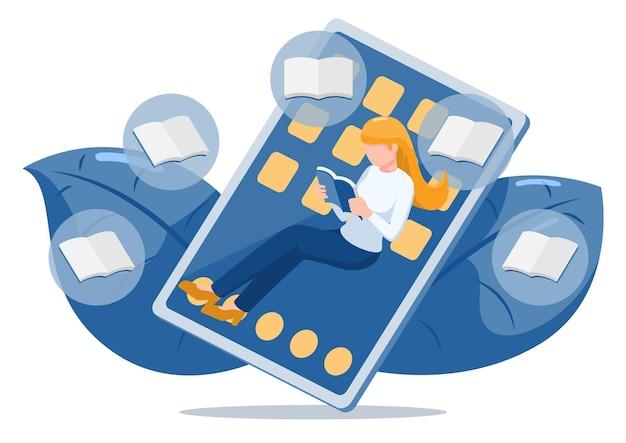 Femme lire un livre et se détendre sur une tablette numérique. livre électronique ou livre électronique et concept de bibliothèque en ligne.