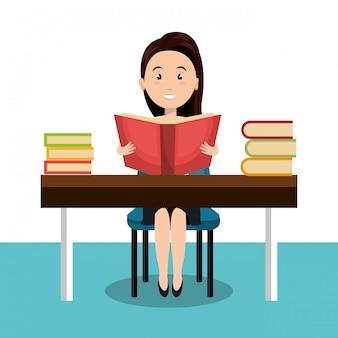 Femme lisant l'icône de manuel de r