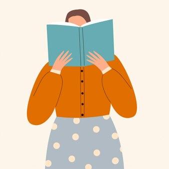 Une femme lisant un livre. concept d'étudier et de se préparer à l'examen. idée d'amateurs de livres, de lecteurs, de fans de littérature isolés sur fond blanc. illustration plate