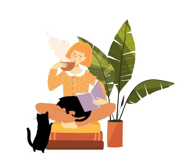 Femme lisant des livres à la maison, buvant du thé avec des animaux et des plantes.