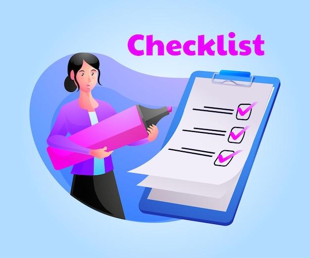 Femme liste de contrôle complète sur le presse-papiers et la paperasse