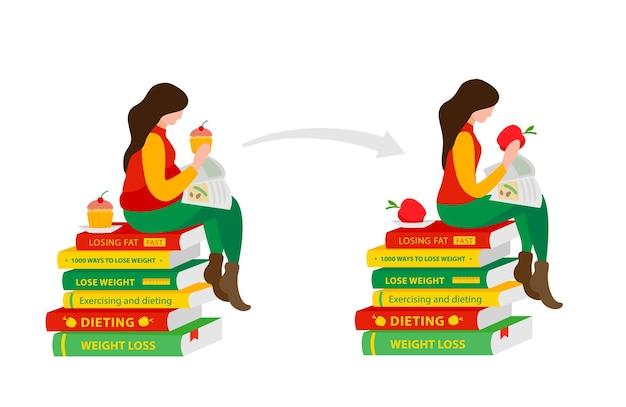 Une femme lit des livres pour perdre du poids avant et après le régime et la forme physique fille assise sur le régime