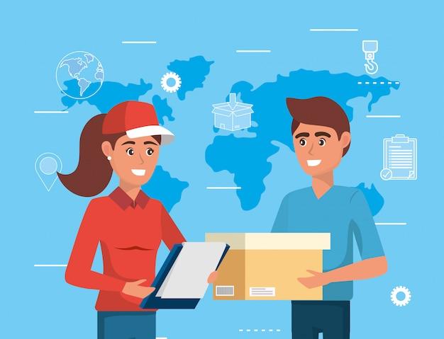 Femme de livraison avec liste de contrôle et homme avec sa boîte