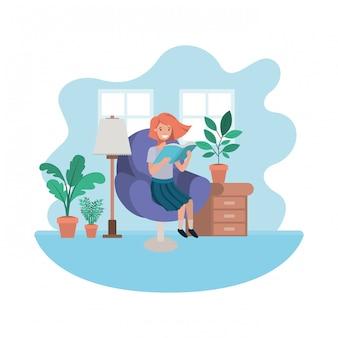 Femme avec livre dans le salon personnage avatar
