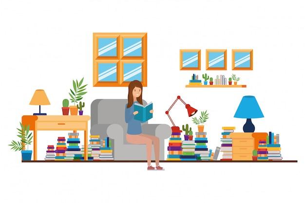 Femme, livre, mains, salon