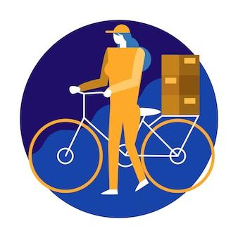 Femme livreur de bicyclette.