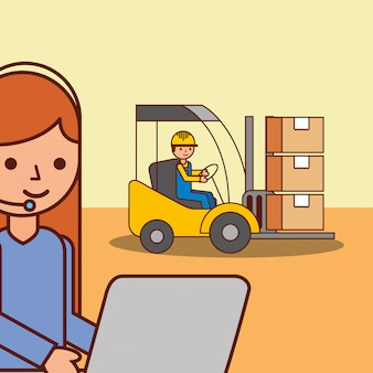 Femme, logistique, ouvrier, ouvrier, dans, colis cargo, colis