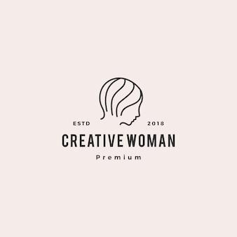 Femme logo vector icône illustration ligne contour monoline