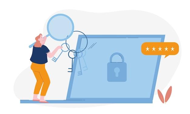 Femme avec loupe et tas de clés