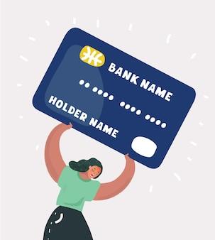 Femme avec un lourd concept de dette de carte de crédit