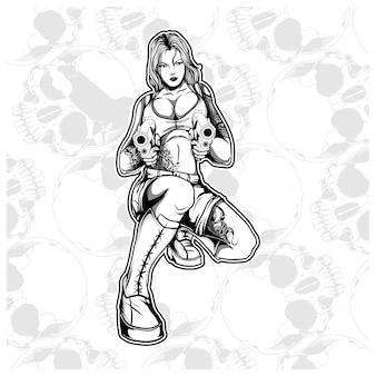 Femme mafia bandit gangster manipulation pistolet