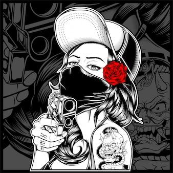 La femme mafieuse tenant un fusil