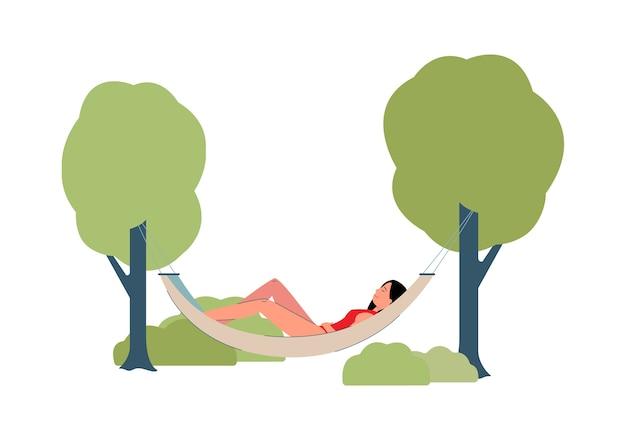 Femme en maillot de bain au repos dans une illustration de hamac